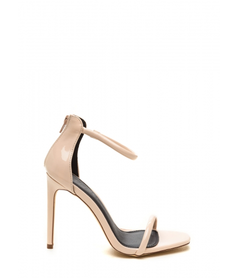 Incaltaminte Femei CheapChic Just One Faux Patent Ankle Strap Heels Nude