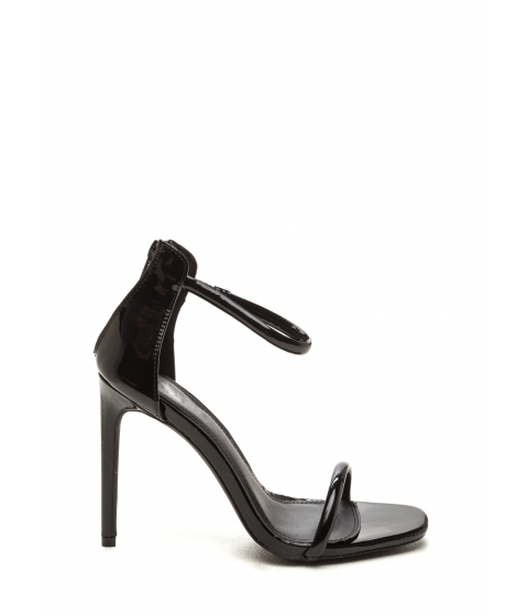 Incaltaminte Femei CheapChic Just One Faux Patent Ankle Strap Heels Black