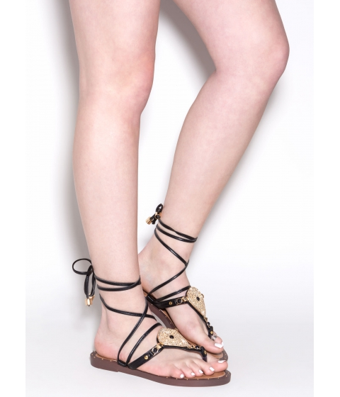 Incaltaminte Femei CheapChic Brighten Up Lace-up Thong Sandals Black