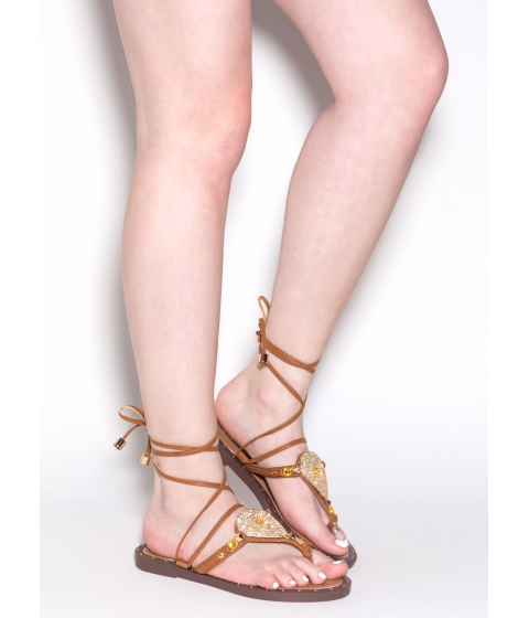 Incaltaminte Femei CheapChic Brighten Up Lace-up Thong Sandals Cognac