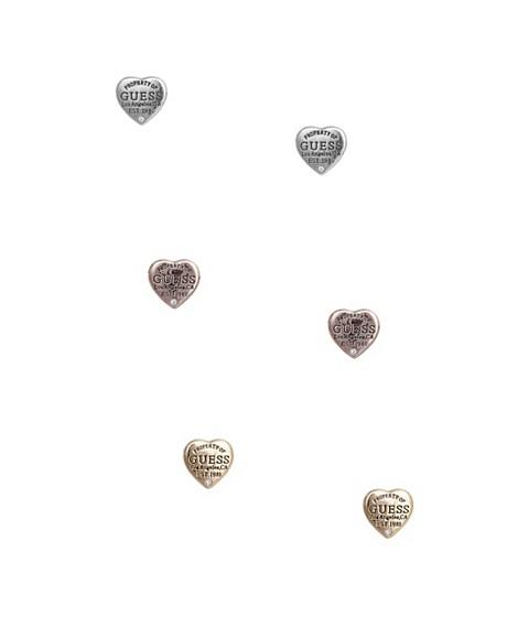 Bijuterii Femei GUESS Tri-Tone Logo Heart Stud Earrings Set multi