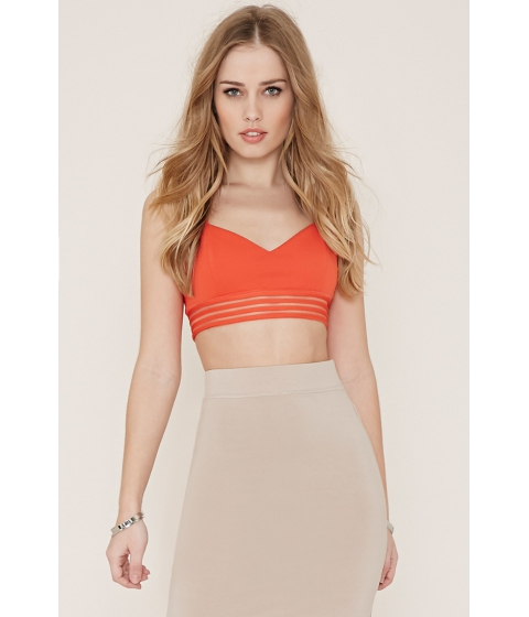 Imbracaminte Femei Forever21 Mesh-Paneled Crop Top Coral