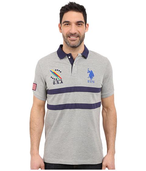 Imbracaminte Barbati US Polo Assn Chest Striped Pique Polo Shirt Heather Grey