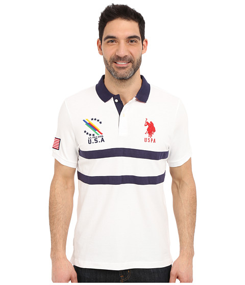 Imbracaminte Barbati US Polo Assn Chest Striped Pique Polo Shirt White
