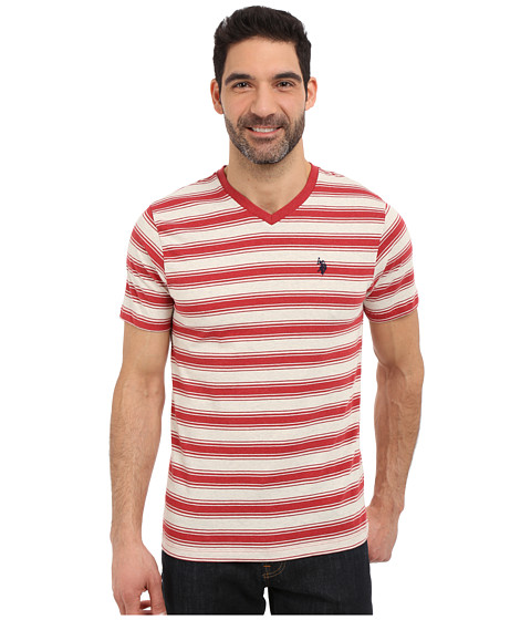 Imbracaminte Barbati US Polo Assn Short Sleeve Shadow Stripe V-Neck T-Shirt Red Heather