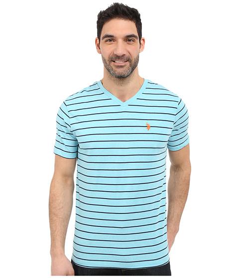 Imbracaminte Barbati US Polo Assn Horizontal Pin Stripe V-Neck T-Shirt Capri Heather