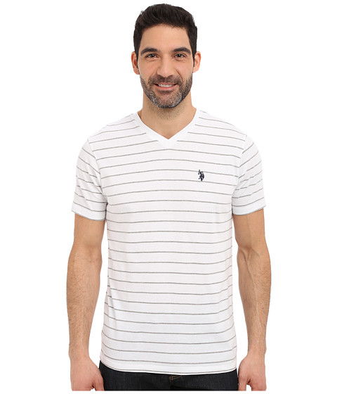 Imbracaminte Barbati US Polo Assn Horizontal Pin Stripe V-Neck T-Shirt White