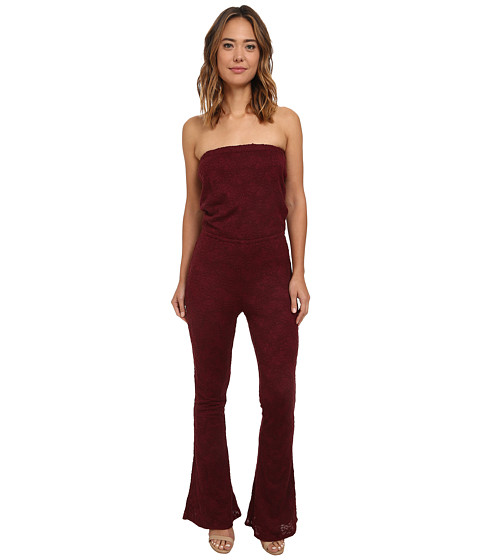 Imbracaminte Femei Chaser Open Back Strapless Lace Jumpsuit Vino