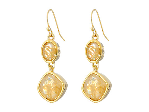 Bijuterii Femei Cole Haan Double Drop Stone Earrings GoldGold Rutilated GlassMetallic GoldMother-of-Pearl