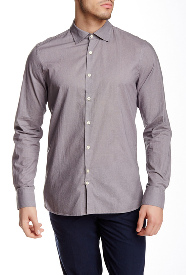 Imbracaminte Barbati J Lindeberg Dani 43 Tape Krill Print Long Sleeve Slim Fit Shirt LT GREY