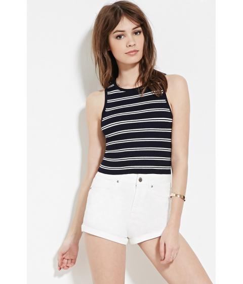 Imbracaminte Femei Forever21 Cropped Stripe Sweater Navywhite