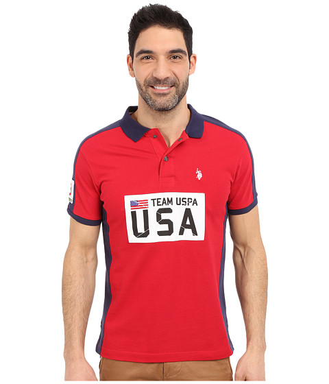 Imbracaminte Barbati US Polo Assn Sporty Authentic Slim Fit Pique Polo Shirt Winning Red