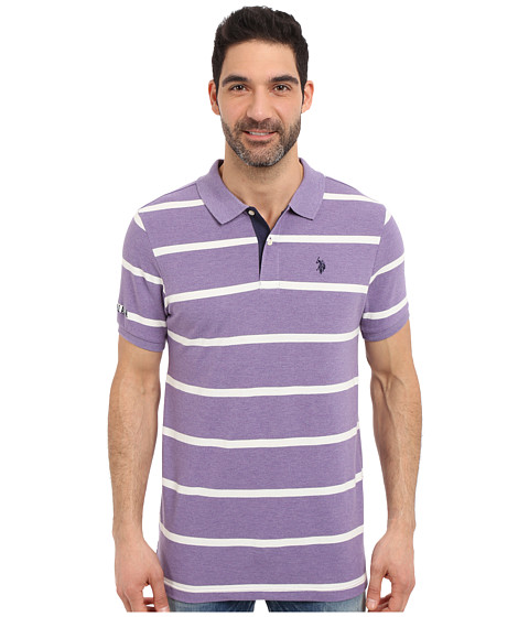 Imbracaminte Barbati US Polo Assn Stripe Pique Polo Shirt Tie Purple Heather