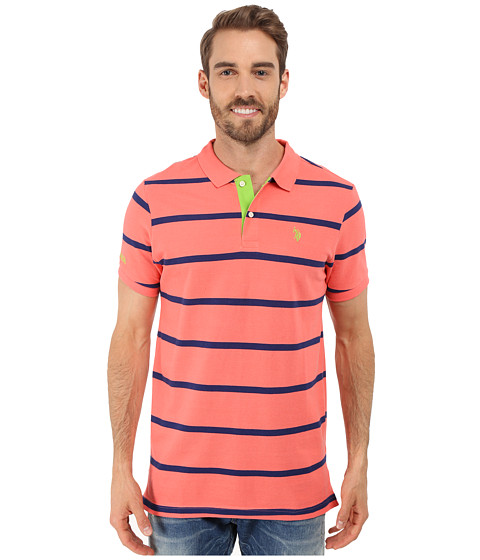 Imbracaminte Barbati US Polo Assn Stripe Pique Polo Shirt Pink Coral