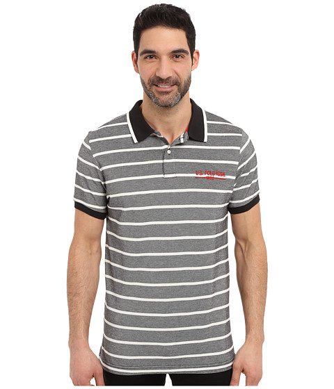 Imbracaminte Barbati US Polo Assn Embellished Pencil Stripe Polo Shirt Black