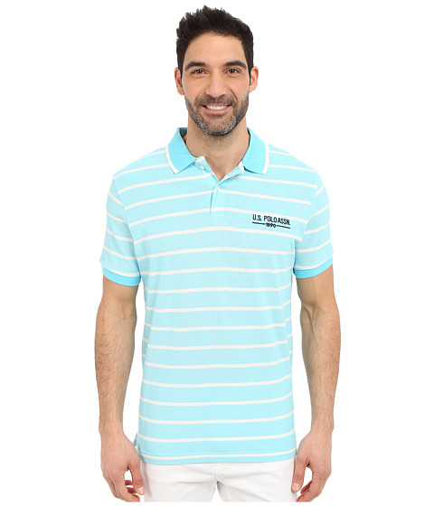 Imbracaminte Barbati US Polo Assn Embellished Pencil Stripe Polo Shirt Swimming Blue