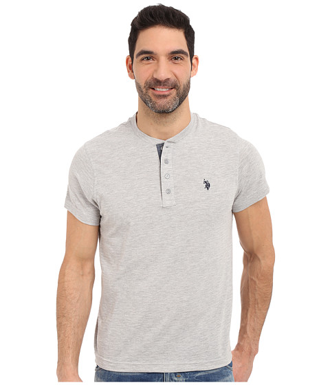 Imbracaminte Barbati US Polo Assn Slim Fit Textured Henley T-Shirt Light Heather Gray