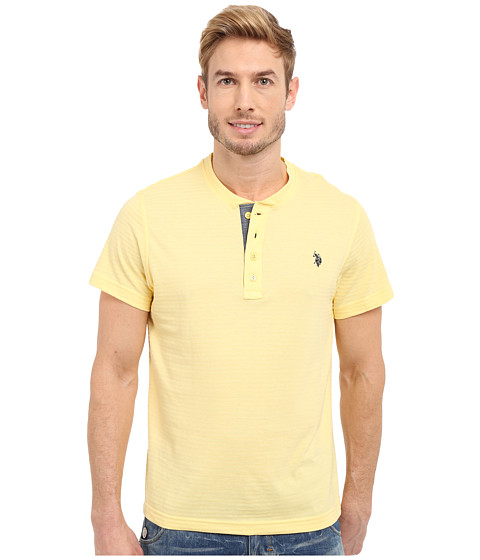 Imbracaminte Barbati US Polo Assn Slim Fit Textured Henley T-Shirt Lemon Frost