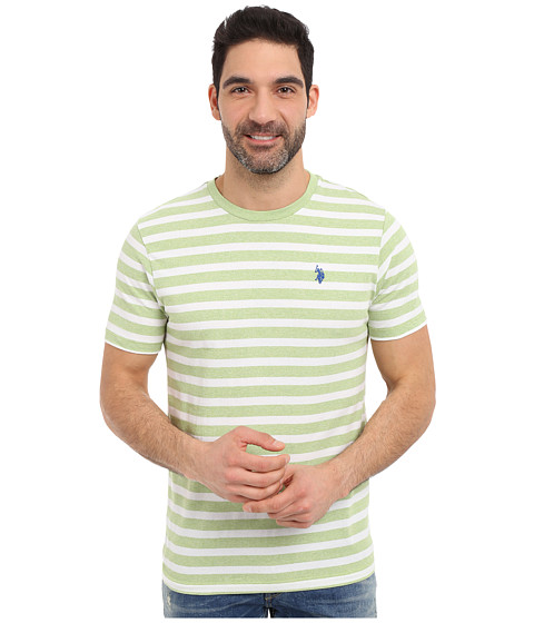 Imbracaminte Barbati US Polo Assn Short Sleeve Meacutelange Stripe Crew Neck T-Shirt Summer Lime