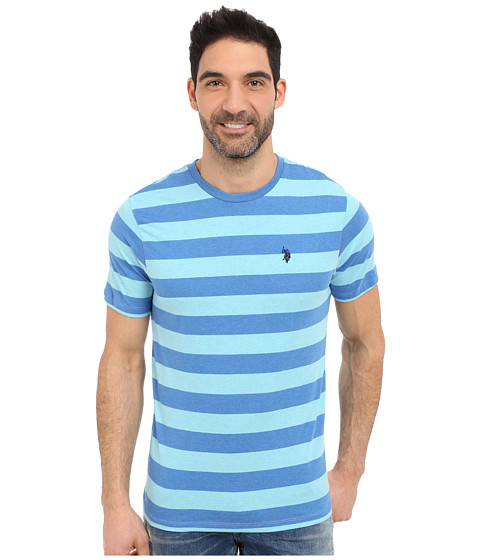Imbracaminte Barbati US Polo Assn Stripe Crew Neck T-Shirt Blue Tile Heather