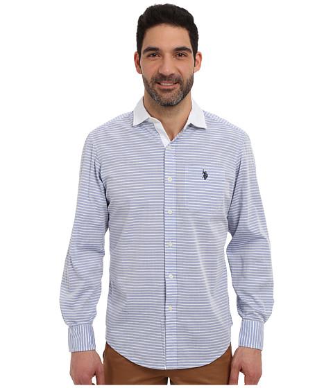 Imbracaminte Barbati US Polo Assn Long Sleeve Classic Fit Horizontal Stripe Sport Shirt Blue Tie