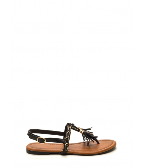 Incaltaminte Femei CheapChic Two-time Tassel Sandals Black