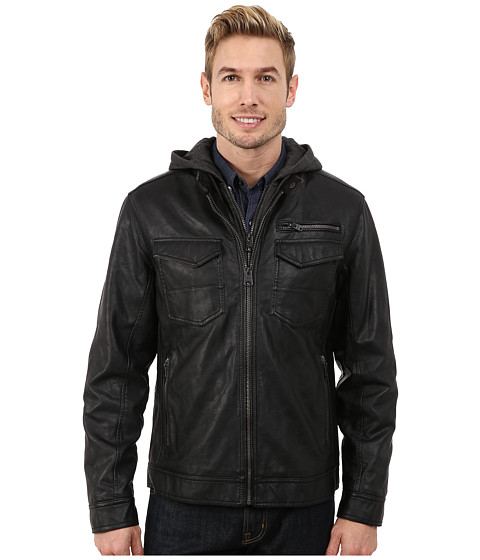 Imbracaminte Barbati Buffalo David Bitton Zip Front Jacket w Hood amp Bib Black