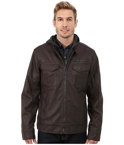 Imbracaminte Barbati Buffalo David Bitton Zip Front Jacket w Hood amp Bib Brown