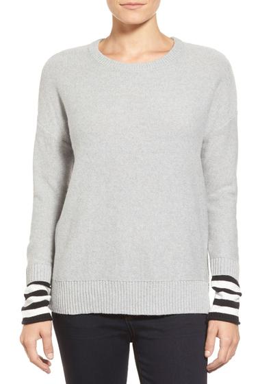 Imbracaminte Femei Caslon Contrast Cuff Crew Neck Sweater GREY HTR- BLK SLV STP
