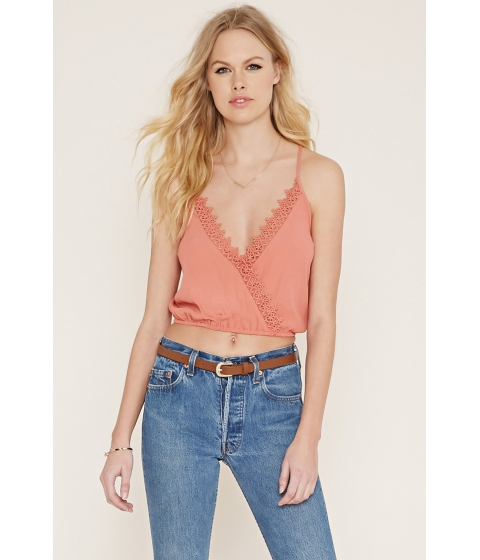 Imbracaminte Femei Forever21 Crocheted Surplice Cami Lobster bisque