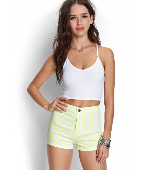 Imbracaminte Femei Forever21 Striped Denim Shorts Neon yellowcream