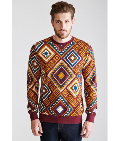 Imbracaminte Barbati Forever21 Tribal Print Sweatshirt Burgundygold