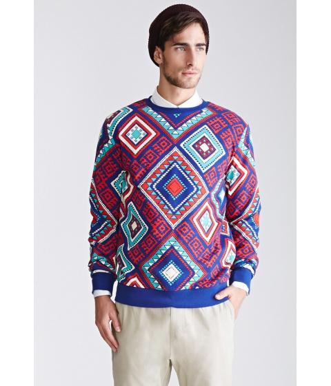 Imbracaminte Barbati Forever21 Tribal Print Sweatshirt Bluered