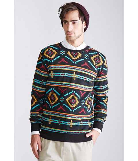 Imbracaminte Barbati Forever21 Southwestern Print Sweatshirt Blackturquoise