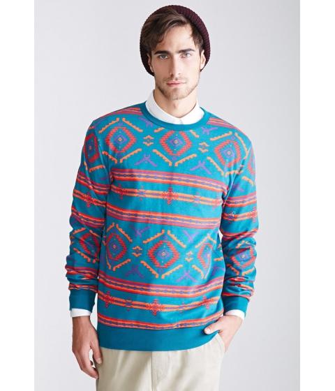 Imbracaminte Barbati Forever21 Southwestern Print Sweatshirt Tealorange