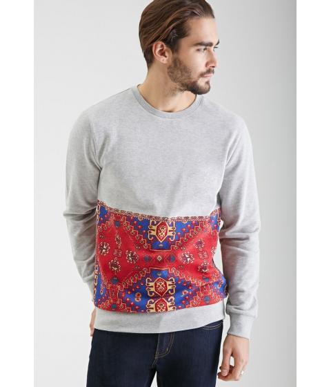 Imbracaminte Barbati Forever21 Mosaic Panel Printed Sweatshirt Heather greyred