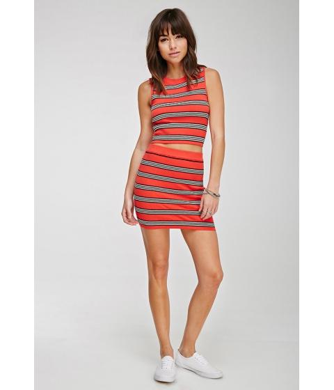 Imbracaminte Femei Forever21 Ribbed Stripe Mini Skirt Orangeblack