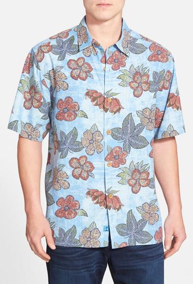 Imbracaminte Barbati Tommy Bahama Garden of Hope and Courage Original Fit Print Silk Shirt BLUE TOPAZ