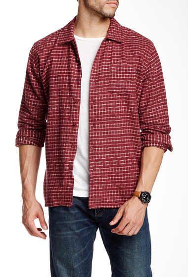 Imbracaminte Barbati Obey Caster Faded Plaid Trim Fit Shirt BURGUNDY