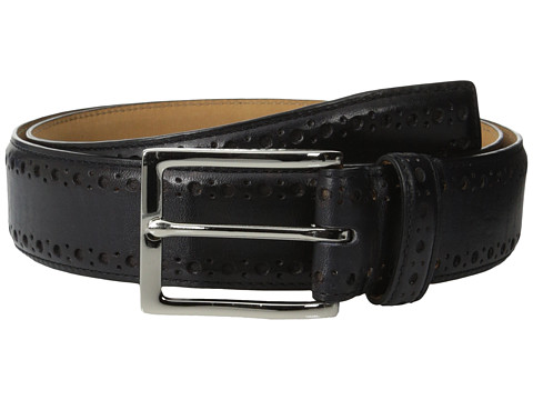 Accesorii Barbati Cole Haan 35mm Feather Edge Stitch Strap w Perf BlackNubuck