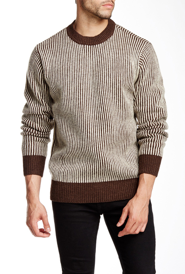 Imbracaminte Barbati Obey Sloper Stripe Crew Neck Sweater BROWN MULT