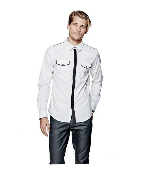 Imbracaminte Barbati GUESS Denfield Polka-Dot Shirt true white