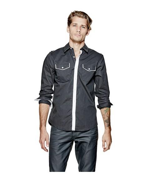 Imbracaminte Barbati GUESS Denfield Polka-Dot Shirt jet black
