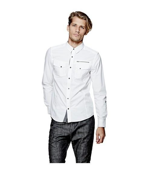 Imbracaminte Barbati GUESS Bason Shirt true white