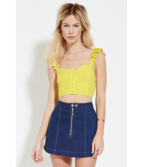 Imbracaminte Femei Forever21 Smocked-Back Crop Top Yellow