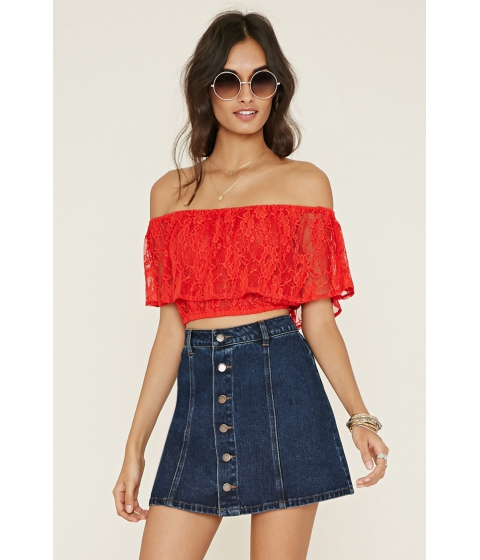 Imbracaminte Femei Forever21 Off-the-Shoulder Lace Top Tomato