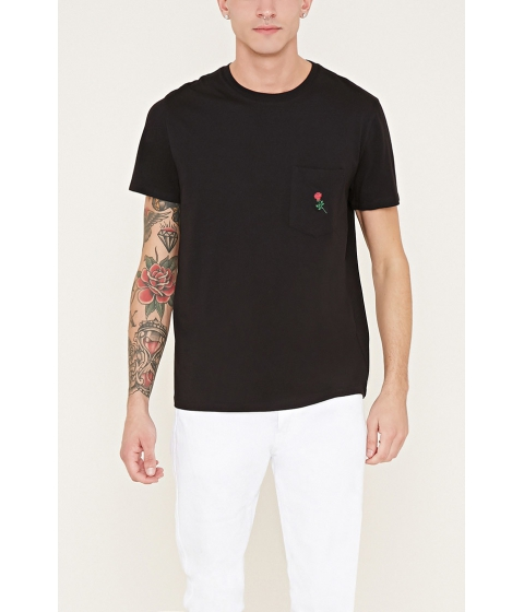 Imbracaminte Barbati Forever21 Rose Graphic Pocket Tee Blackred