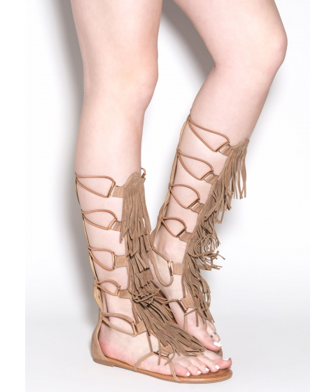 Incaltaminte Femei CheapChic Festival Pick Fringed Gladiator Sandals Taupe
