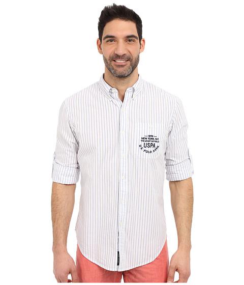 Imbracaminte Barbati US Polo Assn Button Down Slim Fit Striped Oxford Shirt Optic White