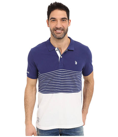 Imbracaminte Barbati US Polo Assn Striped Color Block Polo Shirt Marina Blue